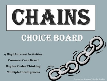CHAINS Choice Board Tic Tac Toe Novel Activities Menu Assessment Project