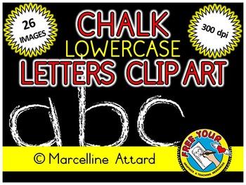 CHALKBOARD ALPHABET CLIPART: LOWERCASE LETTERS CLIPART: BACK TO SCHOOL CLIP ART