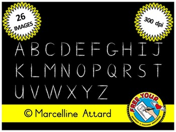 CHALBOARD LETTERS CLIPART: CHALK ALPHABET CLIPART:HAND DRAWN WHITE CHALK LETTERS