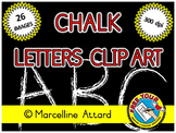 CHALBOARD LETTERS CLIPART: CHALK ALPHABET CLIPART:HAND DRA