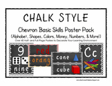 CHALK Chevon Basic Skills Poster Pack (Alphabet, Shapes, Colors, Money, & More!)