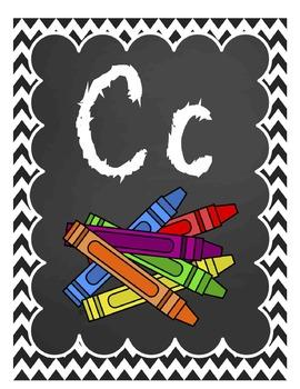 CHALK Chevon Basic Skills Poster Pack (Alphabet, Shapes, Colors, Money, & More!)