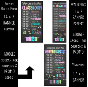 music CHALK - Classroom Decor: SMALL BANNER, When You  Enter this Classroom
