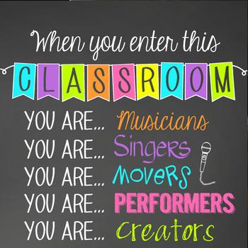 music CHALK - Classroom Decor: SMALL BANNER, When you enter this class