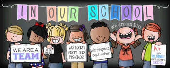 CHALK {melonheadz} - Classroom Decor: LARGE BANNER, In Our School - PASTEL