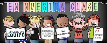CHALK {Melonheadz} - Classroom Decor: LG BANNER, SPANISH - In Our Class - PASTEL