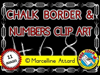 CHALK NUMBERS CLIP ART AND CHALK BORDER - BACK TO SCHOOL CLIP ART - DOLLAR DEAL
