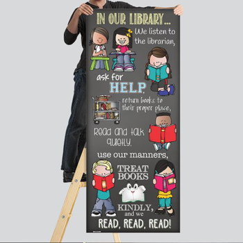 library CHALK {melonheadz} - Classroom Decor: LARGE BANNER, In Our Library