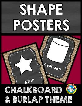 CHALKBOARD AND BURLAP CLASSROOM DECOR SHAPE POSTERS (2D SHAPES AND 3D SHAPES)