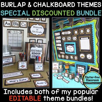 CHALKBOARD AND BURLAP Classroom Decor Bundle EDITABLE