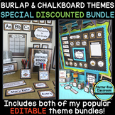 CHALKBOARD AND BURLAP Classroom Decor Bundle EDITABLE | rustic | shabby chic