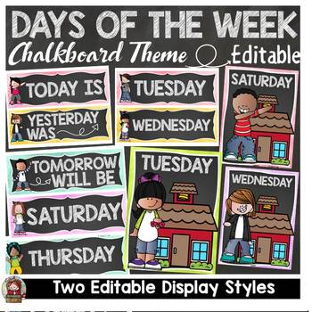 CHALKBOARD CLASS DECOR: EDITABLE DAYS OF THE WEEK POSTERS