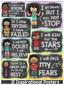 CHALKBOARD CLASS DECOR: EDITABLE GROWTH MINDSET QUOTES: POSTERS