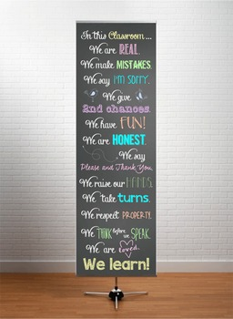 CHALKBOARD - Classroom Decor: XLARGE BANNER, In this Classroom - PASTEL