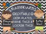 CHALKBOARDS  & KIDS {EDITABLE} NAMEPLATES, LOCKER TAGS, LABELS
