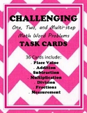Math Word Problem Task Cards (One, two, and MULTI-STEP)