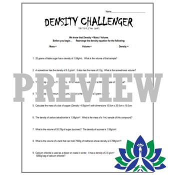 CHALLENGING Density Practice Problems Worksheet - For More Advanced Students