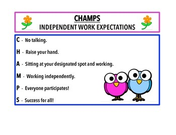 CHAMPS-A positive proactive classroom management tool!