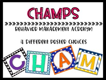 CHAMPS Behavior Management Acronym Poster