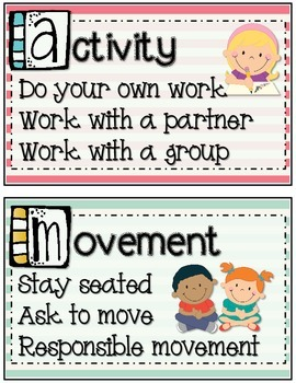 CHAMPS Behavior Management Mini Posters (Striped Theme)