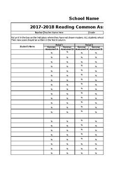 Reading Assessment Data Spreadsheet (Grades K-8)-