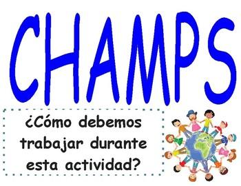 CHAMPS Behavior Management Poster (Grades K-8)- Spanish  (PBIS)