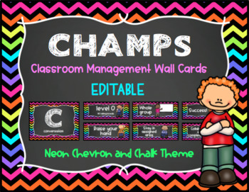 CHAMPS Behavior Management System Posters -EDITABLE- Neon Chevron and Chalk