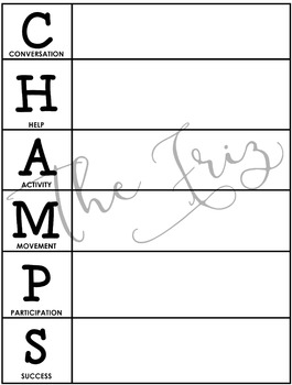CHAMPS Behavior and Expectations Whole School Packet, B&W