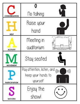 CHAMPS Behavior and Expectations Chart, Auditorium