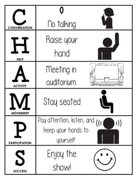 CHAMPS Behavior and Expectations Chart, Auditorium, B&W