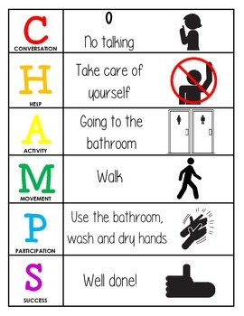 CHAMPS Behavior and Expectations Chart, Bathroom