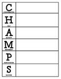 CHAMPS Behavior and Expectations Chart, Blank, B&W