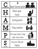 CHAMPS Behavior and Expectations Chart, Cafeteria, B&W