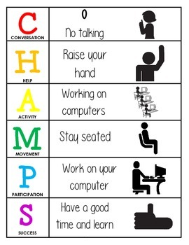 CHAMPS Behavior and Expectations Chart, Computer Lab