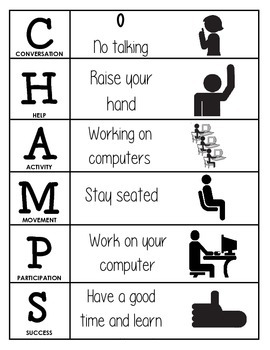 CHAMPS Behavior and Expectations Chart, Computer Lab, B&W