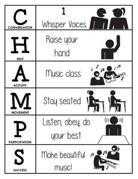 CHAMPS Behavior and Expectations Chart, Music, B&W