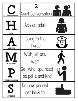 CHAMPS Behavior and Expectations Chart, Nurse, B&W
