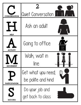 CHAMPS Behavior and Expectations Chart, Office, B&W
