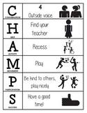CHAMPS Behavior and Expectations Chart, P.E., B&W