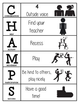 CHAMPS Behavior and Expectations Chart, Recess, B&W