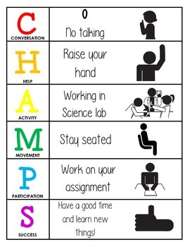 CHAMPS Behavior and Expectations Chart, Science Lab