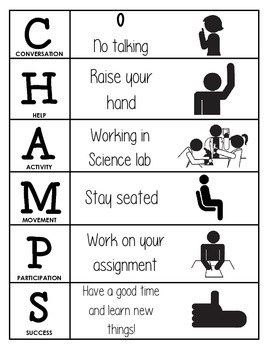 CHAMPS Behavior and Expectations Chart, Science Lab, B&W