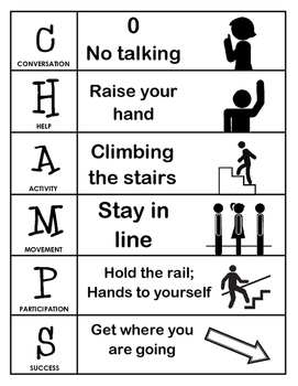 CHAMPS Behavior and Expectations Chart, Stairs, B&W
