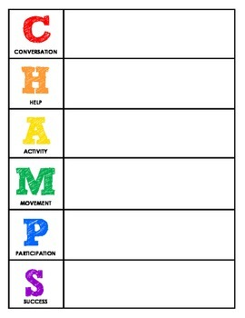 CHAMPS Behavior and Expectations Whole School Packet, Block Letters