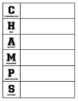 CHAMPS Behavior and Expectations Whole School Packet, Collegiate