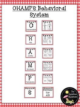 CHAMPS Behavioral Chart: Red Gingham EDITABLE