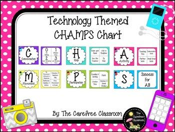 CHAMPS Behavioral Chart: Technology Themed EDITABLE
