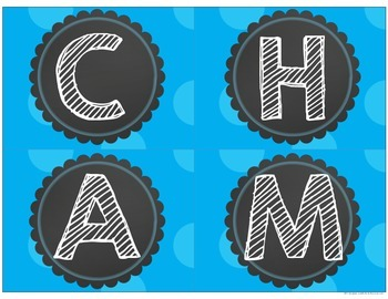 CHAMPS Blue Polka Dot Display Signs