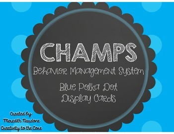 CHAMPS Blue Polka Dot Display Signs