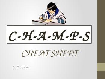 CHAMPS Cheat seat desk card